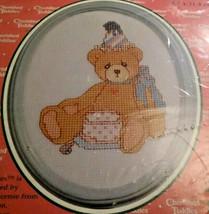 Janlynn Cherished Teddies Birthday Bear 139-74 Framed Counted Cross Stit... - $12.55