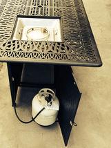 Outdoor Propane Fire Pit bar height double burner table Elisabeth aluminum patio image 10