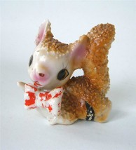 Vintage Anthropomorphic Squirrel Figuine Ceramic Big Eyes Bowtie Texture... - $24.74