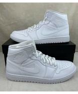 Nike Air Jordan 1 Mid Retro Triple White 2020 Shoes 554724-130 Men's Size 11.5 - $183.10