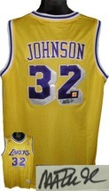 Magic Johnson signed Los Angeles Lakers Yellow Authentic Adidas Swingman... - $205.95