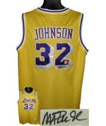 Magic Johnson signed Los Angeles Lakers Yellow Authentic Adidas Swingman... - £158.33 GBP