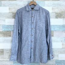 JL Powell Linen Button Front Shirt Blue Lightweight Pocket Vintage Mens ... - $49.49