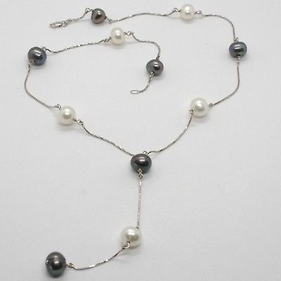 18K WHITE GOLD LARIAT NECKLACE VENETIAN CHAIN WITH BLACK & WHITE PEARLS 8.5 MM