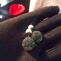 Authentic Christian Dior Mise En Dior Pink Black Crystal Pearl Tribal Earrings R image 3