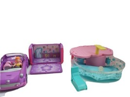 Polly Pocket Pop n' Rock Limo  Purple Car w/ Sound, World Splash Pool  - $15.84