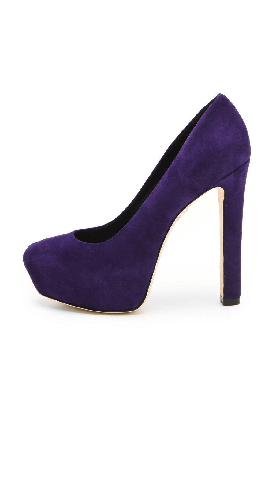 Brian Atwood Savita Platform Pumps Suede Purple, Size 8 M image 2