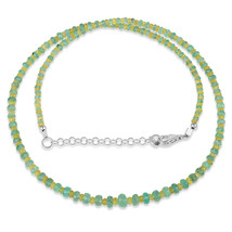 Yellow Sapphire & Emerald Faceted Gemstone Beaded Necklace with 925 Silv... - $79.99