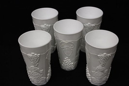Set of 5 Vintage Indiana Milk Glass Colony Harvest Grape Ice Tea Tumbler... - $39.99