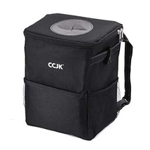 CCJK Car Trash Can with Lid and Storage Pockets 2Gallons, Waterproof Car Trash B