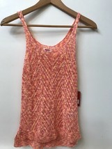 NWT Womens Mossimo open knit Sweater Tank Cami Top Orange Pink Crochet XS - $14.95