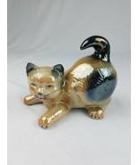 Vintage porcelain glazed cat animal figurine home decor Brazil - $24.71