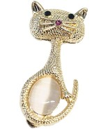 Retro Gold Plated Cat Brooch Pins for Women,Fashion Rhinestone Animal Dr... - $28.57