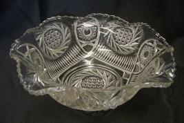 Clear Bulls Eye Pinwheel Bowl Scalloped Ruffled Edge Candy Glass Dish Vi... - $29.37