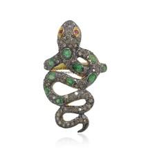 2.30 Ct Pave Diamond Snake Ring Sterling Silver Emerald Gemstone Animal ... - $171.94
