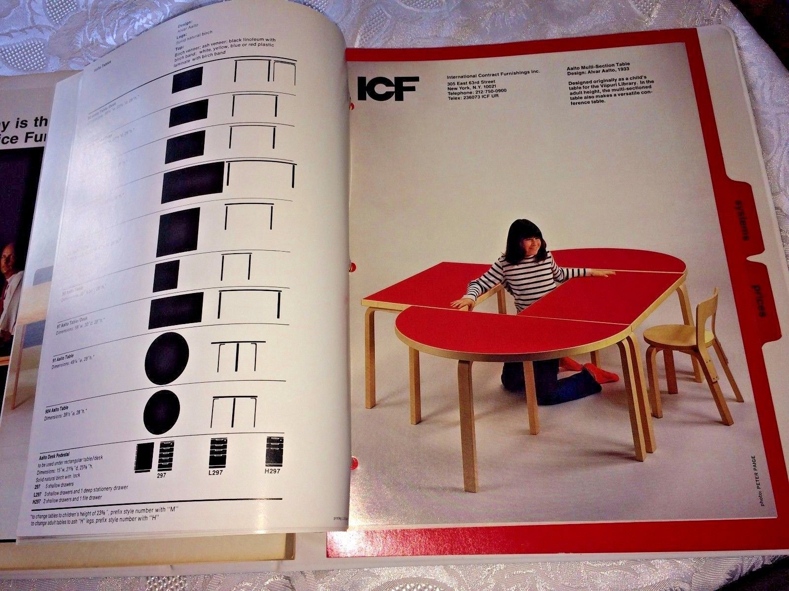 Rare Vtg ICF Furniture Chairs Showroom Catalog Binder 1986 Aalto Hoffmann  Botta