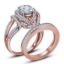 Flower Design Womens Diamond Bridal Ring Set 14k Rose Gold Finish 925 Si... - $91.99