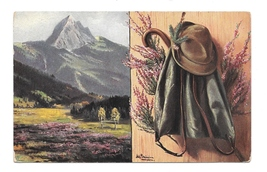 2 Artist Paintings Clothing Mountain Marke Egemes Serie 63 Austria 1913 ... - $4.99
