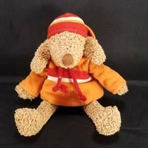 Bath & Body Works Barker Plush Stuffed Toy Brown Dog Hooded Orange Sweatshirt - $15.83