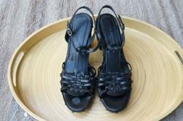 Via Spiga Sz 8.5 Black Leather Heels Sandals Womens New Studded Block Heels - $29.69