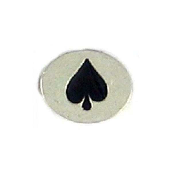 BLACK SPADE EPOXY FINE PEWTER OVAL DISC BEAD - 11mm L x 9mm W x 3mm D