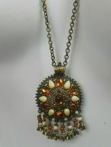Vintage Joan Rivers Long Brass-tone Rhinestone/Bead Dangle Pendant Necklace - $48.00