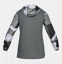 UNDER ARMOUR HOODIE PULL OVER WINDBREAKER TOP Black & Gray Adult Extra Large!! image 7