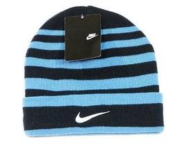 Nike Swoosh Cuff Style Blue Striped Knit Beanie Skull Cap Boys 8-20 NWT - $24.74