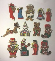 Set Of 13 VTG Painted Wood Thin CHRISTMAS Tree ORNAMENTS Bears Raggedy A... - $21.84
