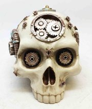 Steampunk Gearwork And Nails Robotic Human Skull Statue Figurine - $24.98