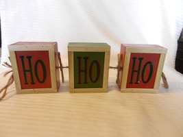 Wooden Red & Green Hanging HO HO HO Sign Block Shape Christmas Decor - $22.27