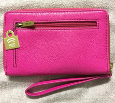 Nwt Fossil Jori Pink Pebble Leder Handgelenk Ziparound Clutch SWL1821694... - $79.94