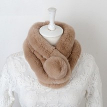 Real Fur Scarf Winter And Autumn Natural Rabbit Scarf With Ball Pele Fem... - $14.53