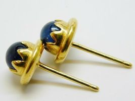 Vintage Tiffany & Co 18K Yellow Gold Star Sapphire Stud Earrings 3.2g image 9