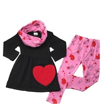 Cute Kids Clothing Toddler Girl Valentine's Day Heart Scarf Outfit Bouti... - $26.99