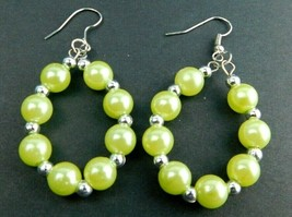 VTG Earrings Dangle Silver Tone/Green Pierced Earrings BOHO Mid Century ... - $14.69