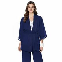 NATORI Size M Textured Novelty Topper Cardigan Sleepwear Nightgown NAVY - $108.85