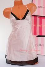 Nwt Victoria's Secret Vs Lingerie Slip Slick Lace Babydoll Unlined S Shiny Beige - $30.99
