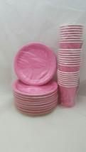 Hallmark Paper Celebration Cups 9oz & Plates 6 3/4 Fashion Pink 104 pc Lot - $32.66