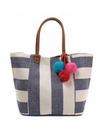 ST20P Striped Navy Canvas Pom Pom Large Shopper Handbag Weekender Tote - $18.95
