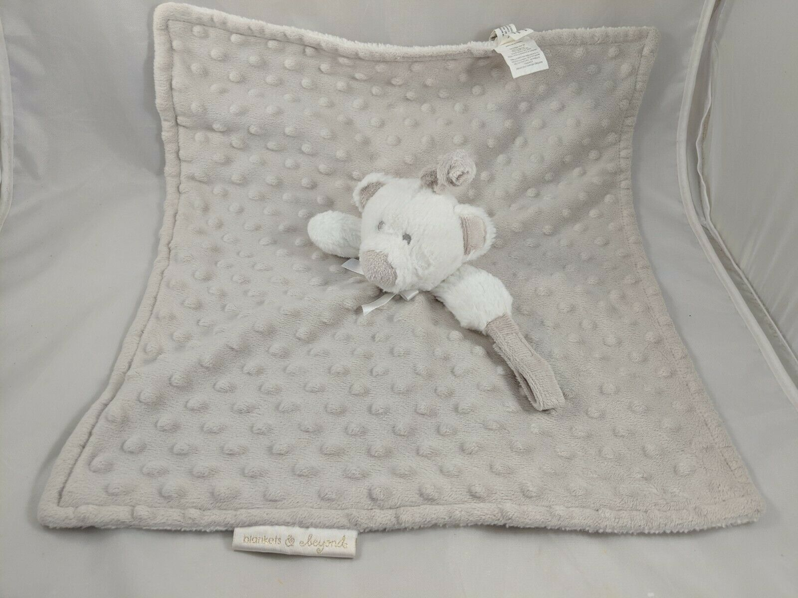 Primary image for Blankets & Beyond Bear Lovey Gray Security Blanket Plush Dots