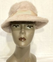 WOMEN'S KANGOL FURGORA PALE PINK FLUFFY BUCKET HAT MADE IN ENGLAND - $23.36