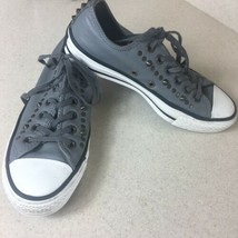 Converse All Star Sneakers Mens Sz 5 Women Sz 7 Grey Leather Stud Spikes... - $39.59