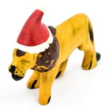 Hand Carved & Painted Jacaranda Wood Santa Hat Lion Safari Christmas Figurine image 2