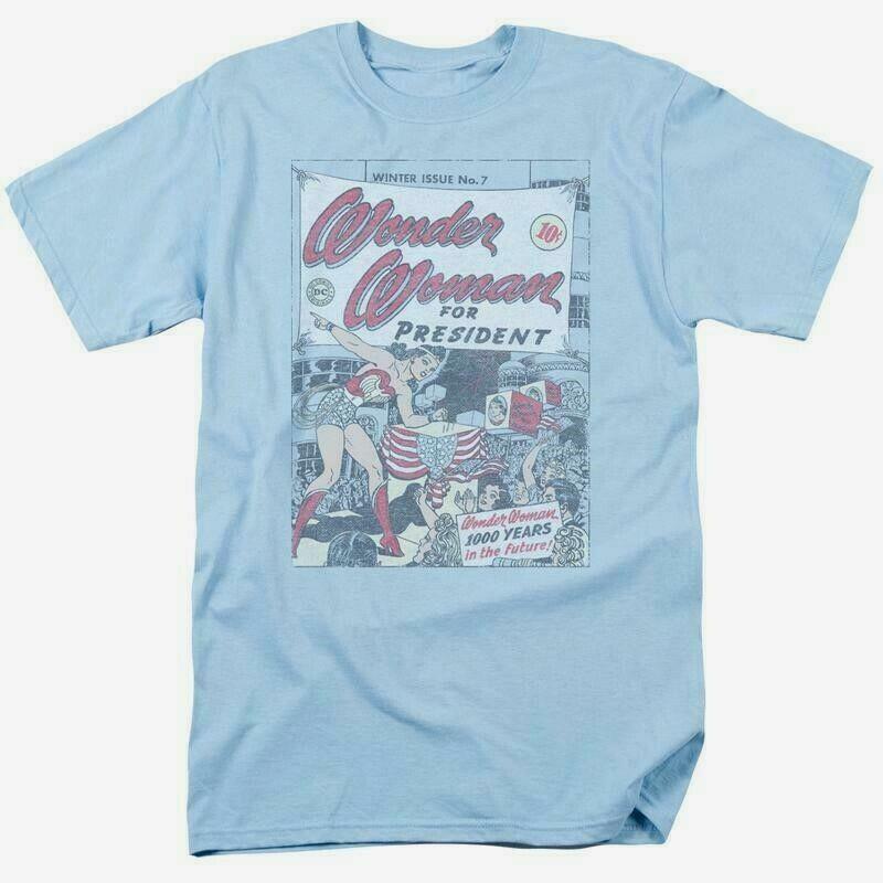 Wonder woman for president t shirt retro dc comic book superman superhero dco657