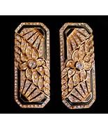 art deco style earrings - large statement set -  long filigree clip on e... - $75.00