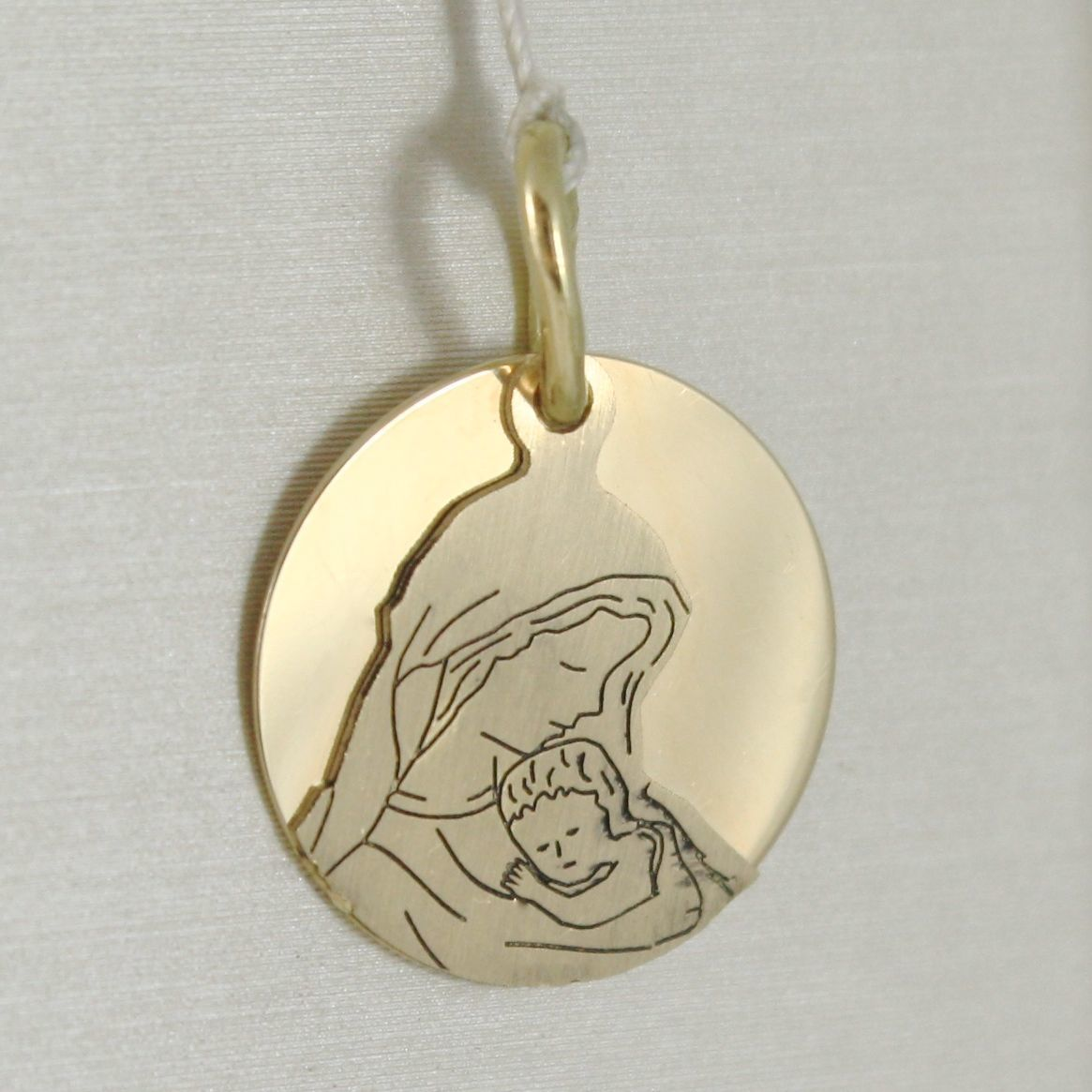 Pendant Medal Round 750 18k Yellow Gold, Mary and Jesus, Double Layer, Satin