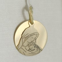 Pendant Medal Round 750 18k Yellow Gold, Mary and Jesus, Double Layer, Satin image 1