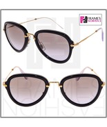 MIU MIU NOIR MU03QS Aviator Black Gradient Lilac Gold Women Sunglasses 0... - $254.43
