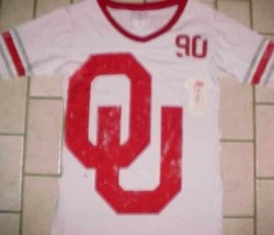 Oklahoma Sooners Football NCAA Big 12 Women Girls White Red Jersey Tunic... - $19.79